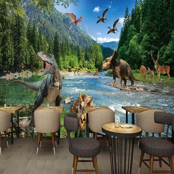 Giấy Dán Tường Hình Ảnh 3D, Phong Cảnh Thiên Nhiên Sông Rừng Khủng Long, Phòng Khách, Quán Cà Phê-Intl
