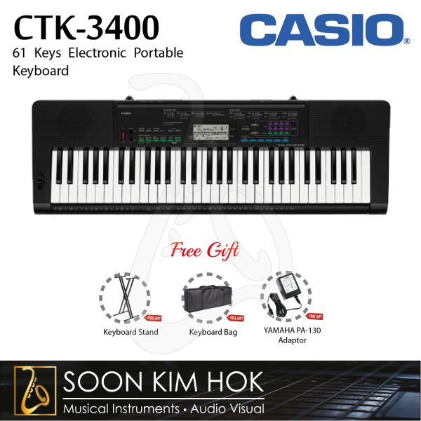 CASIO CTK-3400 61 Keys Electronic Portable Keyboard With Adaptor (CTK3400) Malaysia