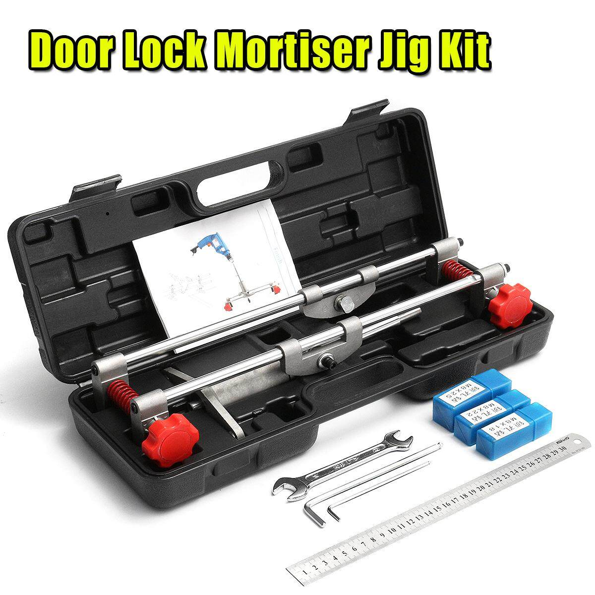 8Pcs Mortice Door Fitting Jig Lock Mortiser DBB Key JIG1 With 3 Cutters & Ruler