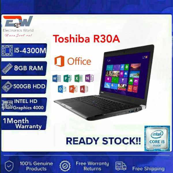 USED  Toshiba R30-A, 13.3 inches Laptop with Intel Core i5-4th Gen, 8GB RAM - 500GB HDD /LTE SIM SUPPORT Windows 10 Pro (Refurbished) Malaysia