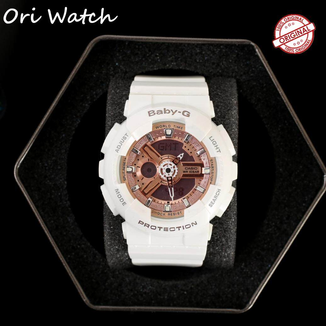 (Ready stock) Original Casio_Baby G Womens Autolight Sports Resin Strap Watch Waterproof Shockproof Ladies Famous Brand Watches for women platinum BA-110 / BA110 Malaysia
