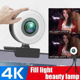 Webcam Làm Đẹp HD 1080P, Đèn Led Dạng Neo Làm Đẹp Kèm Micro Máy Ảnh Game Thủ Video USB Dành Cho Máy Tính PC Laptop Công Việc Hội Nghị Gọi Video Phát Sóng Trực Tiếp Để Bàn thumbnail