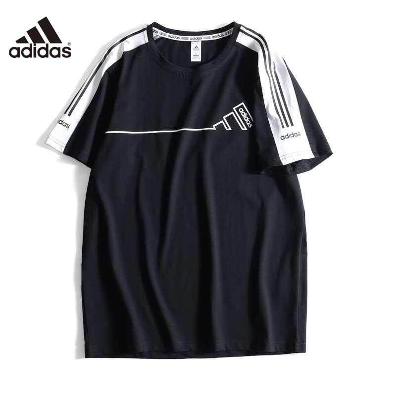 Adidas แท้ผู้ชายและผู้หญิงรอบคอแฟชั่นคลาสสิกกีฬาสามบาร์เสื้อยืด FP6035