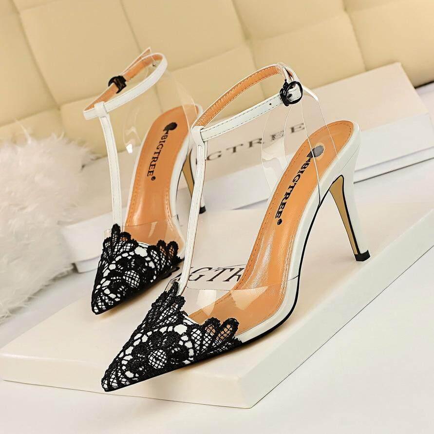 แฟชั่นเกาหลีปาร์ตี้ใสเท้าเปล่ารองเท้าผู้หญิงกริชรองเท้าส้นสูงลูกไม้แหลม T- รูปรองเท้าแตะรองเท้าส้นสูง.