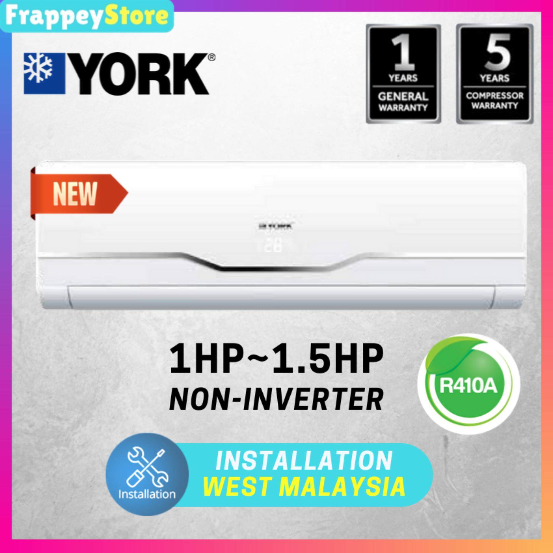 (Frappey)York 1HP / 1.5HP Air Conditioner, Non Inverter R410a Aircond With LED Light (YWM3F10DAS)(YWM3F15DAS) image on snachetto.com