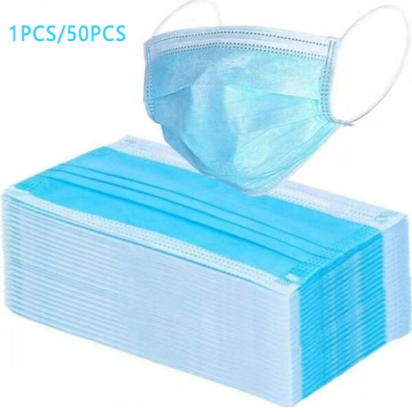 JosheLife 1pcs/50pcs Disposable Mouth Face Cover 3 Layers Non-woven Dust Filter Ear Loop ready stock