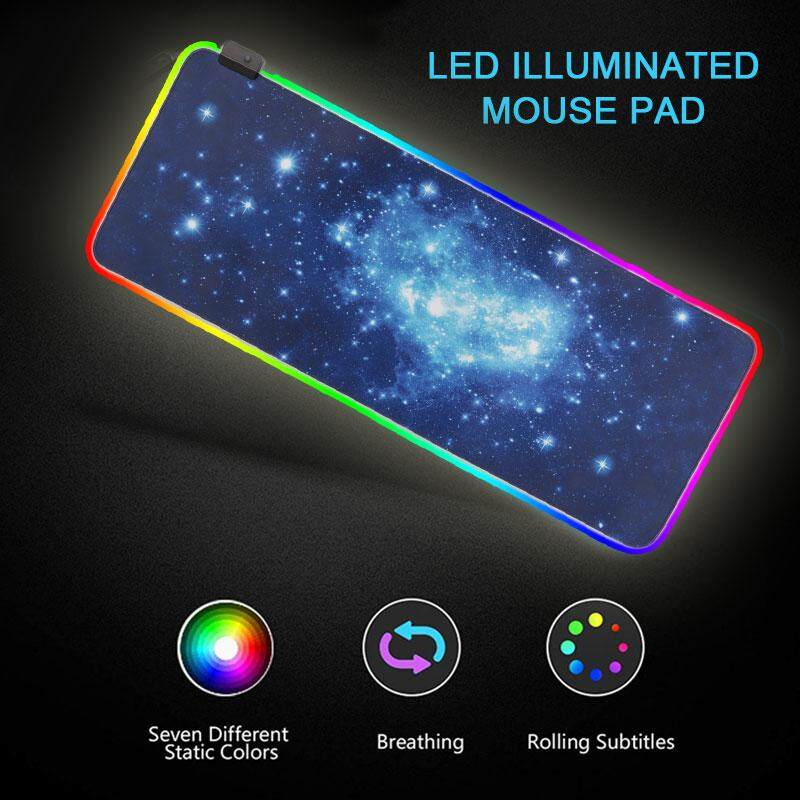 80*30cm Mouse Mat Starry Sky Rubber PVC XL Cushion RGB Laptop Gaming Computer Mice Mat RGB Mouse Pad Office Protection Pad Home Rectangular Malaysia