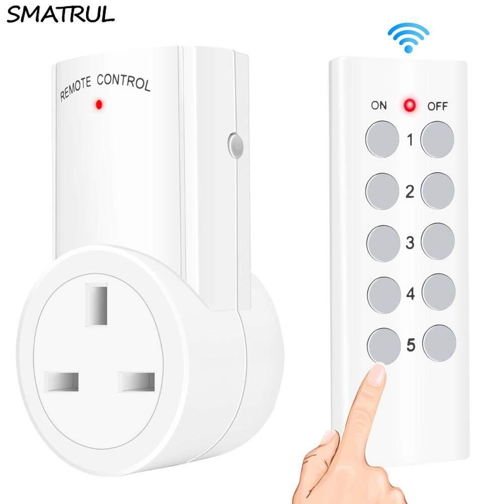 SMATRUL Wireless smart Remote Control Socket  Timer Plug wall Programmable Electrical UK Plug Outlet Switch 220v 230v LED Lights