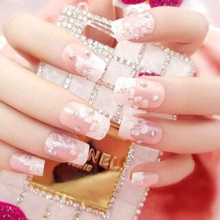 Bộ 24 móng tay giả đính đá kim cương Rhinestone tạo hình hoa 3D lấp lánh phù hợp dùng để làm móng cho cô dâu - INTL thumbnail