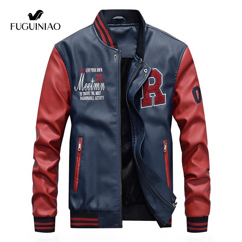 Fuguiniaoเสื้อแจ็คเก็ตหนังผู้ชาย,แจ็คเก็ตขี่มอเตอร์ไซค์แฟชั่นสีดำหนังpuดีไซน์เบสบอลแจ็คเก็ตขี่มอเตอร์ไซค์แบบบาง.