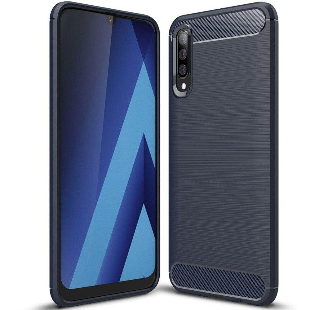 dc415f4fe26e4e For Samsung Galaxy A50 Case, Silicone Protection Shock Absorption Cover and Carbon  Fiber Design Phone