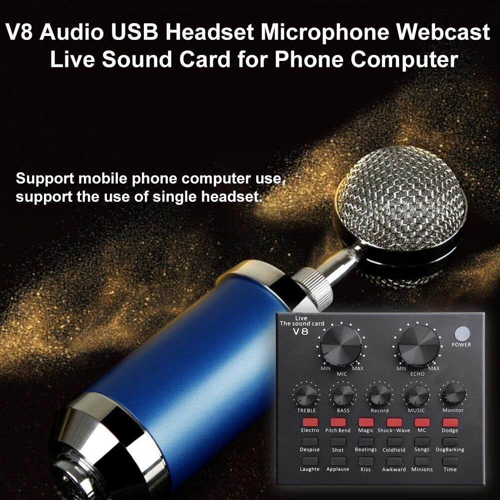 V8 Audio Headset Usb Mikrofon Webcast Live Kartu Suara Untuk Ponsel Komputer By Chinatera Official Store.