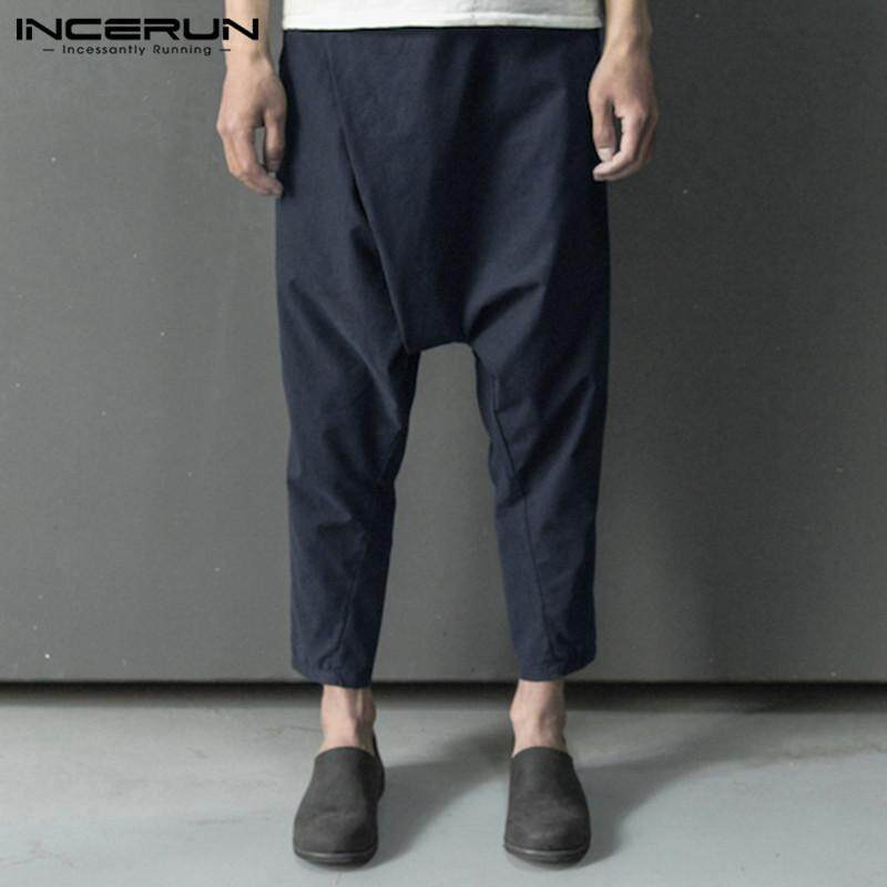 INCERUN Vintage Men/'s Linen Beach Trousers Causal Baggy Holiday Summer Long Pant