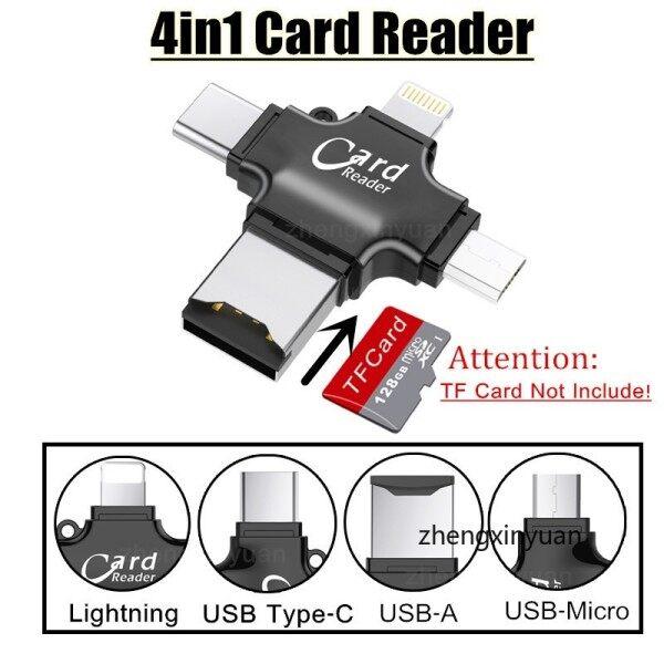 Bảng giá Đầu Đọc Thẻ 4 Trong 1 Bộ Chuyển Đổi Lightning Cho iPhone Thiết Bị Đọc Thẻ, Đầu Đọc Thẻ TF SD Loại C Micro USB Bộ Chuyển Đổi Cho IPad Macbook OTG Phong Vũ