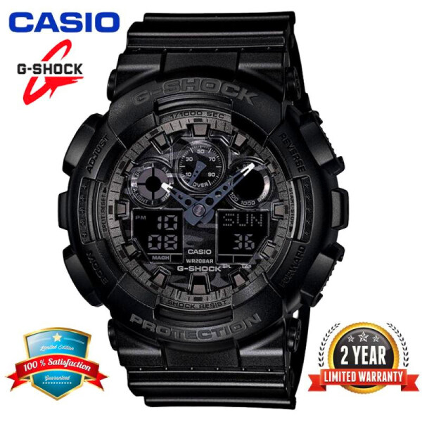 (Free Shipping) Original G Shock GA-100CF-1A Men Sport Watch Duo W-Time 200M Resistant Shockproof and Waterproof World Time Auto Light with 2 Year Warranty GA100/GA-100 Camouflage Gray free shipping Malaysia