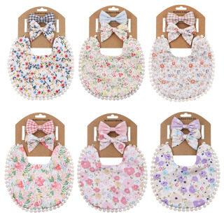 3 Cái bộ Băng Đô Nơ Dễ Thương Cho Bé, Yếm Băng Đô Co Giãn In Hoa Cho Bé Gái Sơ Sinh Toddler Mũ Nón Phụ Kiện Tóc Cho Bé thumbnail