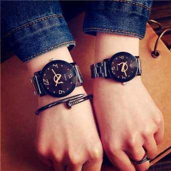 Simple นาฬิกาคู่แฟชั่นสายเหล็กนาฬิกาควอตซ์สำหรับผู้หญิงคนรักนาฬิกาข้อมือชายหญิงที่มีชื่อเสียงนาฬิกา-