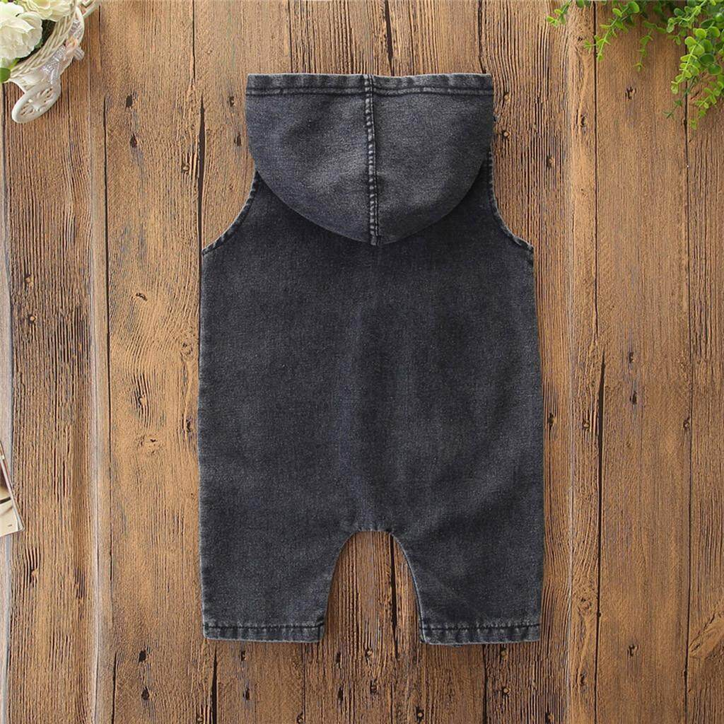 Toddler Kids Baby Boys Denim Hooded Sleeveless Romper Jumpsuit Outfits Clothes