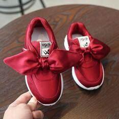 ❤️Cutiebaby Mới Thời Trang Trẻ Em Bé Gái Giày Thời Trang Vải Lụa Nơ Giày Thể Thao