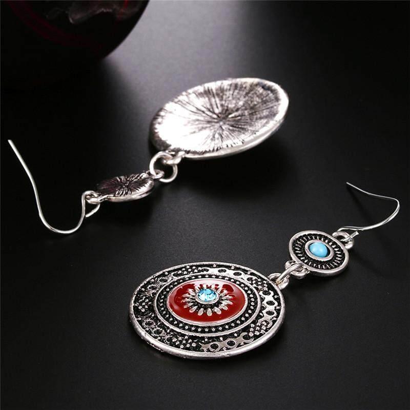 Bohemia Ear Stud Drop Dangle Earrings Long Ethnic Round Earrings Women Jewelry