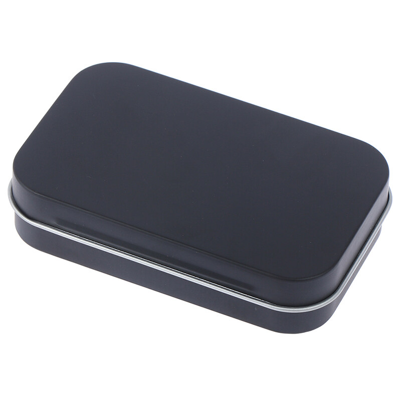 Small Jewelry Storage Box Candy Coin Key Organizer Tin Flip Black Gift Sealed