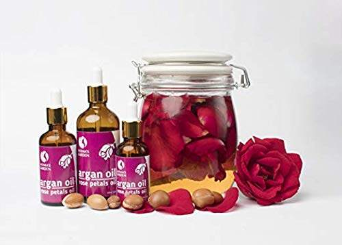 Fatima's Garden Argan Oil with Rose Petals Macerate for Face Hair Skin and Nails Moroccan Oil Organic Virgin Cold Pressed Moroccan Anti-aging Moisturizer (Argan + Rose oil 1 Fl Oz)