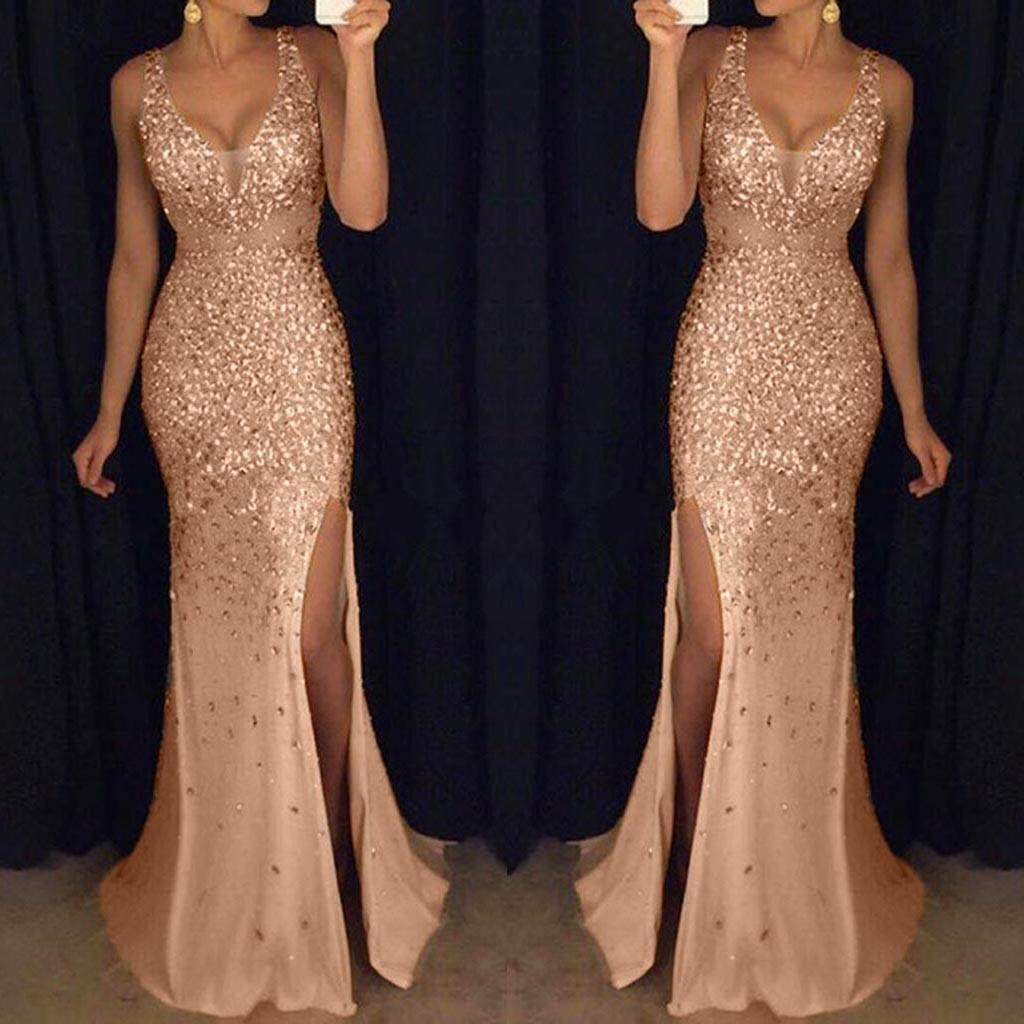 Women Sequin Prom Party Ball Gown Sexy Gold Evening Bridesmaid V Neck Long  Dress 6238abc2780f