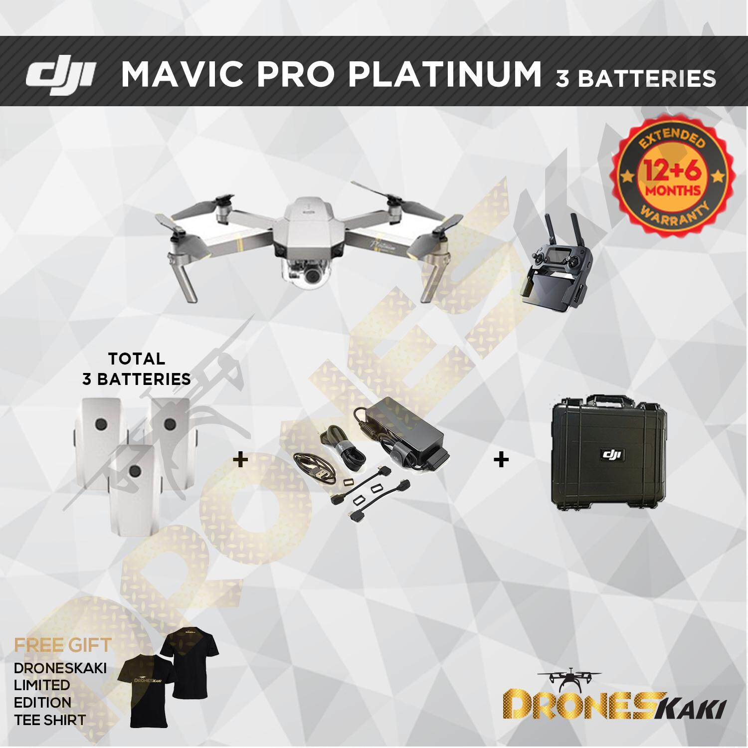 DJI Mavic Pro Platinum Combo + FREE GIFTS (6 Months Extended Warranty Only  At Drones Kaki Online Store worth RM800)