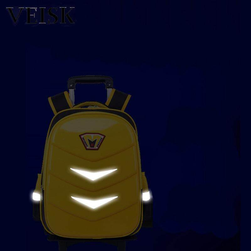 Veisk Rod Bag Primary School Students Male Six-wheeled Stair-climbing Waterproof Breathable Shoulders Backpack Children Female