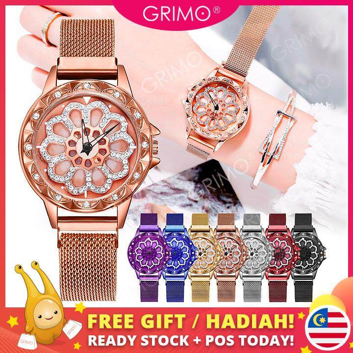 GRIMO Malaysia - Rotating Lucky Flower Watch Womens 360° Jam Tangan Fashion Trend Starry Perempuan Magnet Ladies Girls New August 2019 Malaysia