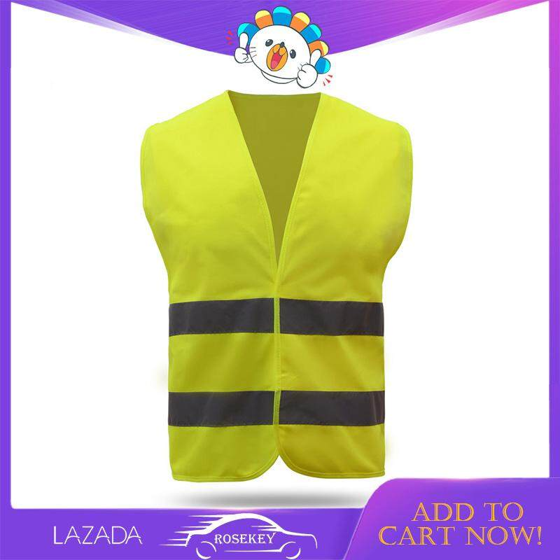 Rosekey Reflective Safety Vest Bright Neon Color with 2 Inch Reflective Strips Orange Trim Zipper Front CB037