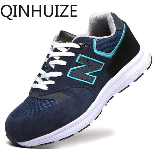 QINHUIZE Fashion work shoes spring safety shoes mens lightweight Kevlar anti-piercing anti-smashing shoes work protective boots