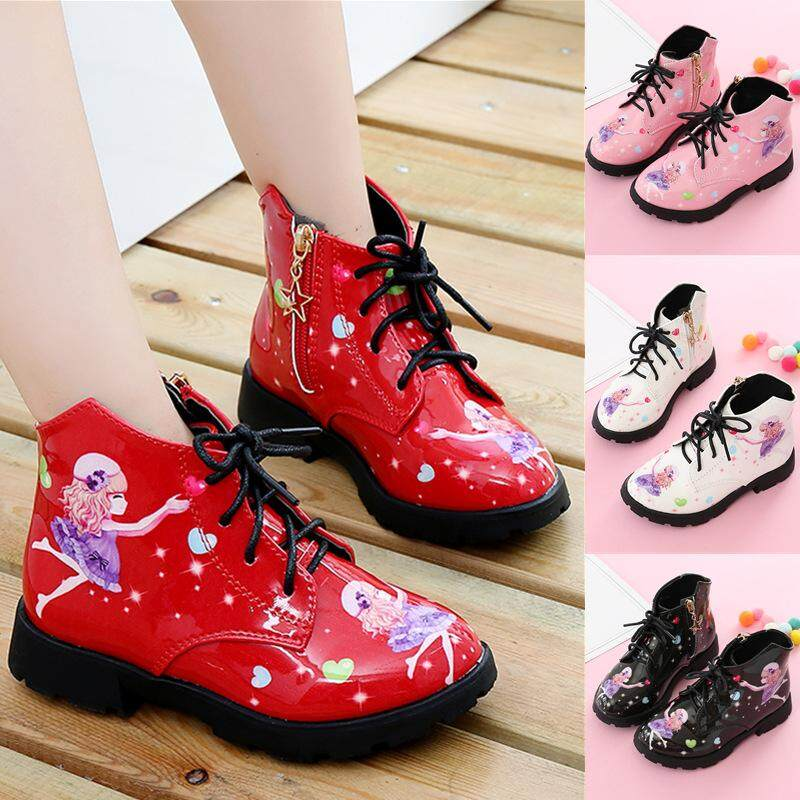 Children Martin Boots PU Leather Waterproof Motorcycle Boots Winter Kids Snow Boots Brand Girls Princess Shoes Rubber Boots
