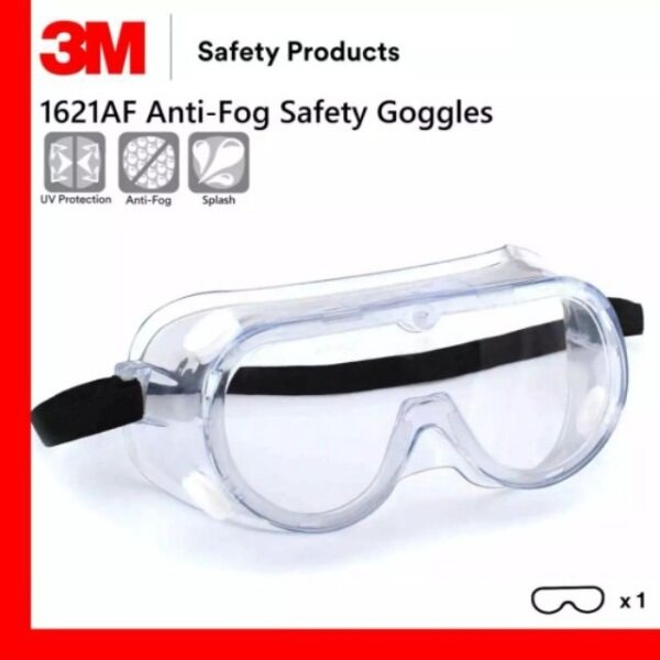 3M™ 1621AF Clear lens Safety Goggles 1621Anti-Fog, Polycarbonate Lens for Splash (Individually Packed)(Price per piece)
