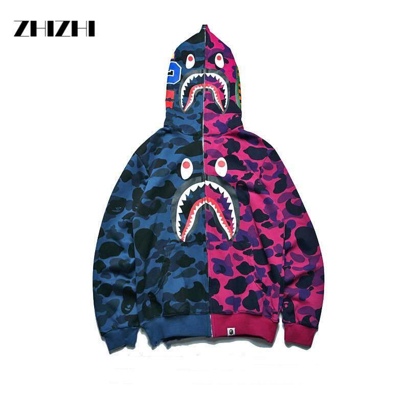 a2d5e3a8902e JAPAN Bape A Bathing Ape Men s Shark Head Jacket Sweats HOODIE BAPE Sweater  Coat