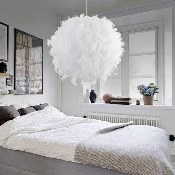 Modern White 110-220V Feather Ball Lamp shade Ceiling Pendant Light Shade Bedroom Living Room E27 Soft Safe Decor