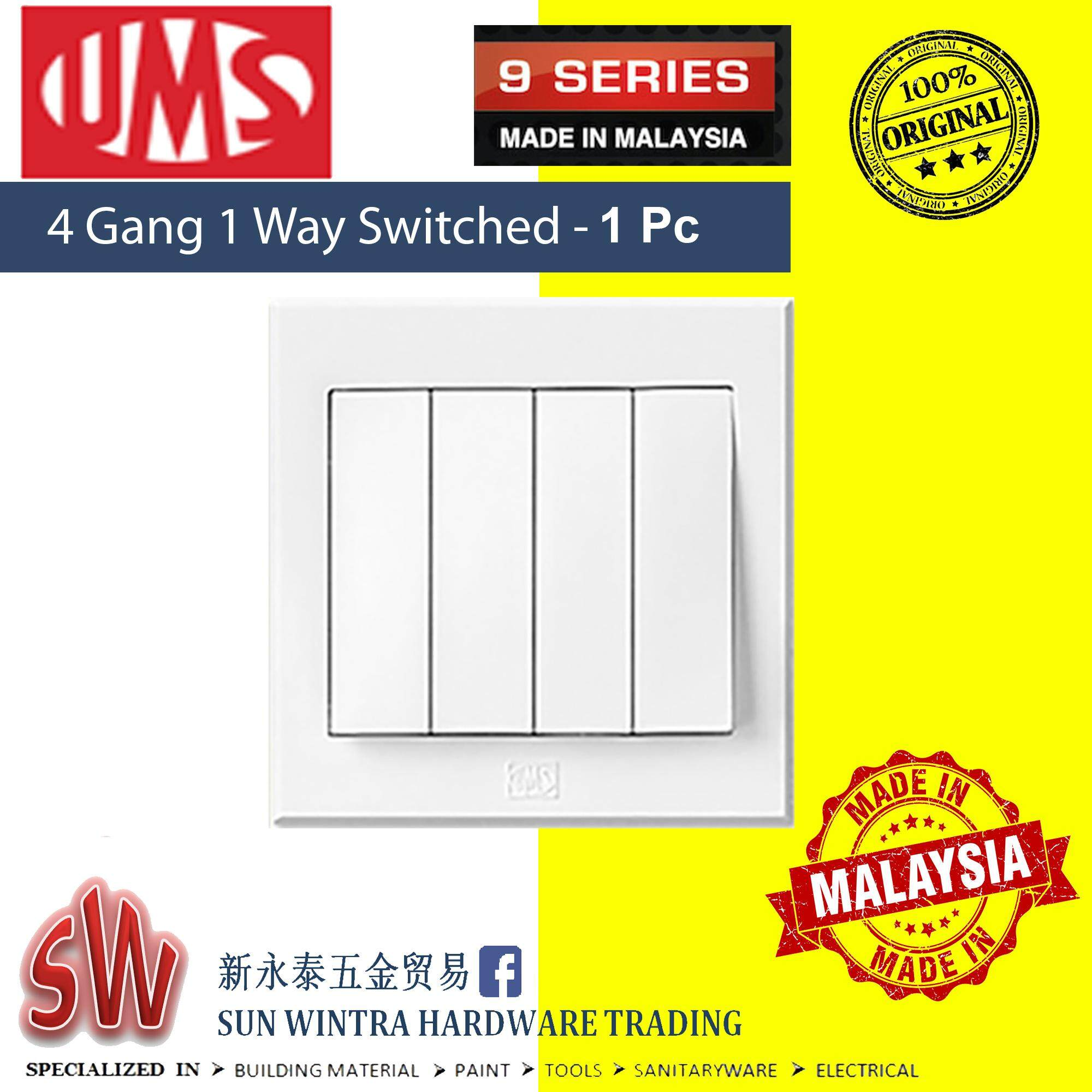 UMS 9 Series 4 Gang 1 Way Switched 1 Pc