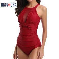 Mayoung Nữ Một bộ Đồ Bơi Lưới Vải Xếp Chia Áo Bơi dành cho Mùa Hè