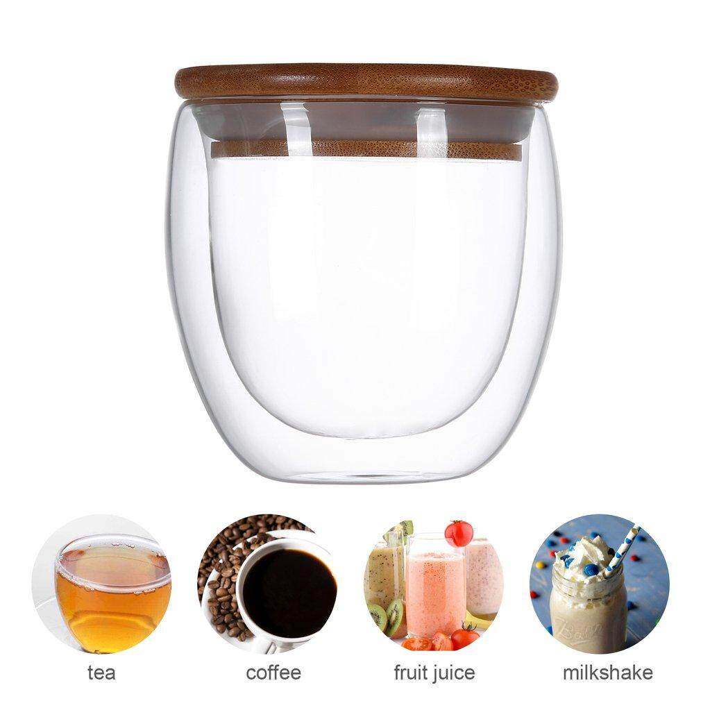 4c81581ce5 OSMAN Double Layer Wall Clear Glass Tea Cup + Bamboo Lid Set Glass Coffee  Milk Mug