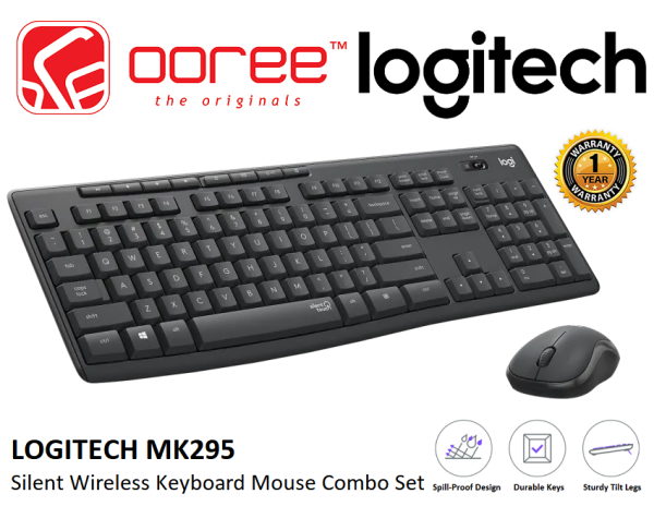 LOGITECH MK295 SILENT FULL-SIZE COMFORT WIRELESS KEYBOARD AND MOUSE COMBO SET WITH SPILL-PROOF DESIGN (920-009814) Malaysia