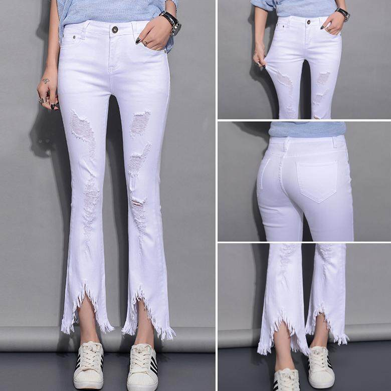 ec9a0fdd0 New Fashion Stretch Jeans For Women Open fork tassel Ripped slim fit Was  Thin Fringed Edges