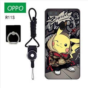 Untuk OPPO R11S Case Telepon Lembut Silikon Pelindung Belakang Bergambar Casing Karet dengan Tali & Cincin 3in1 Q4 波妞