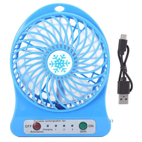 Mini Desk Fan Portable Baby Bed Car Seats Fan USB Rechargeable Small Fan Air Circulator blue