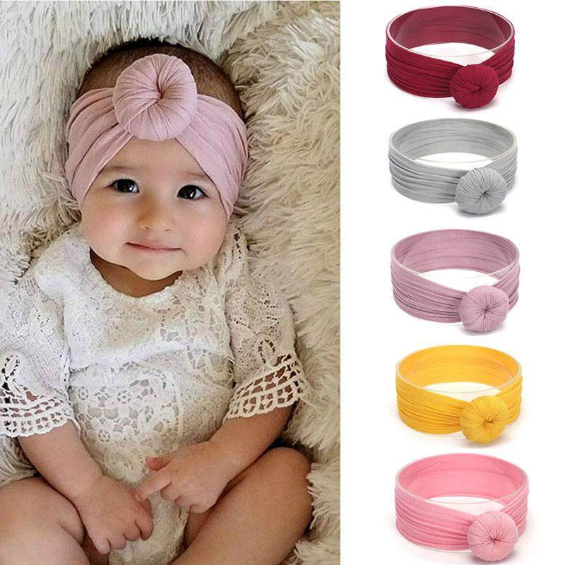 3576a7e2a 5Pcs Cute Knot Baby HeadbanD GirlsTurban Soft Nylon Elastic Baby Girl  Headbands Newborn Hair Band Accessorie