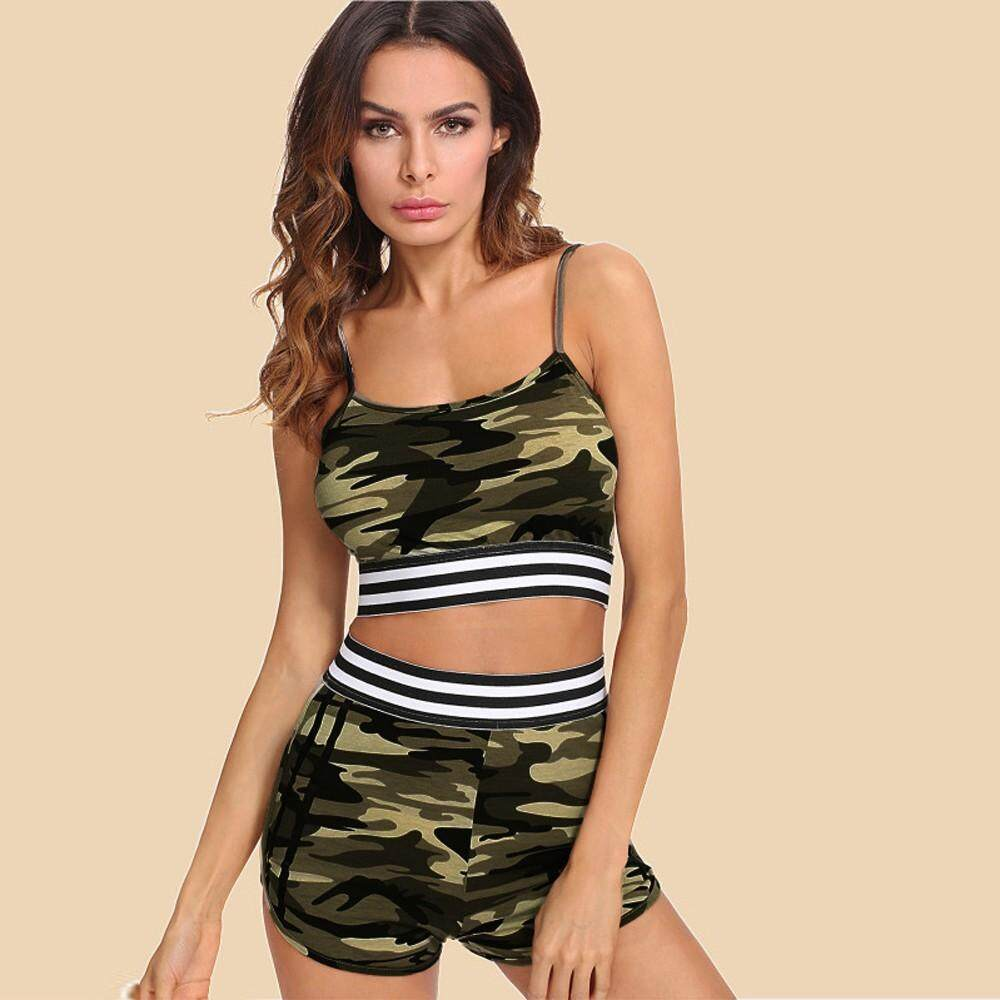 3d2d4786740b Auburyshop Two Pieces Womens Vest Tank Top Camouflage Printed Sleeveless  Shirt Pants Sets Reference size