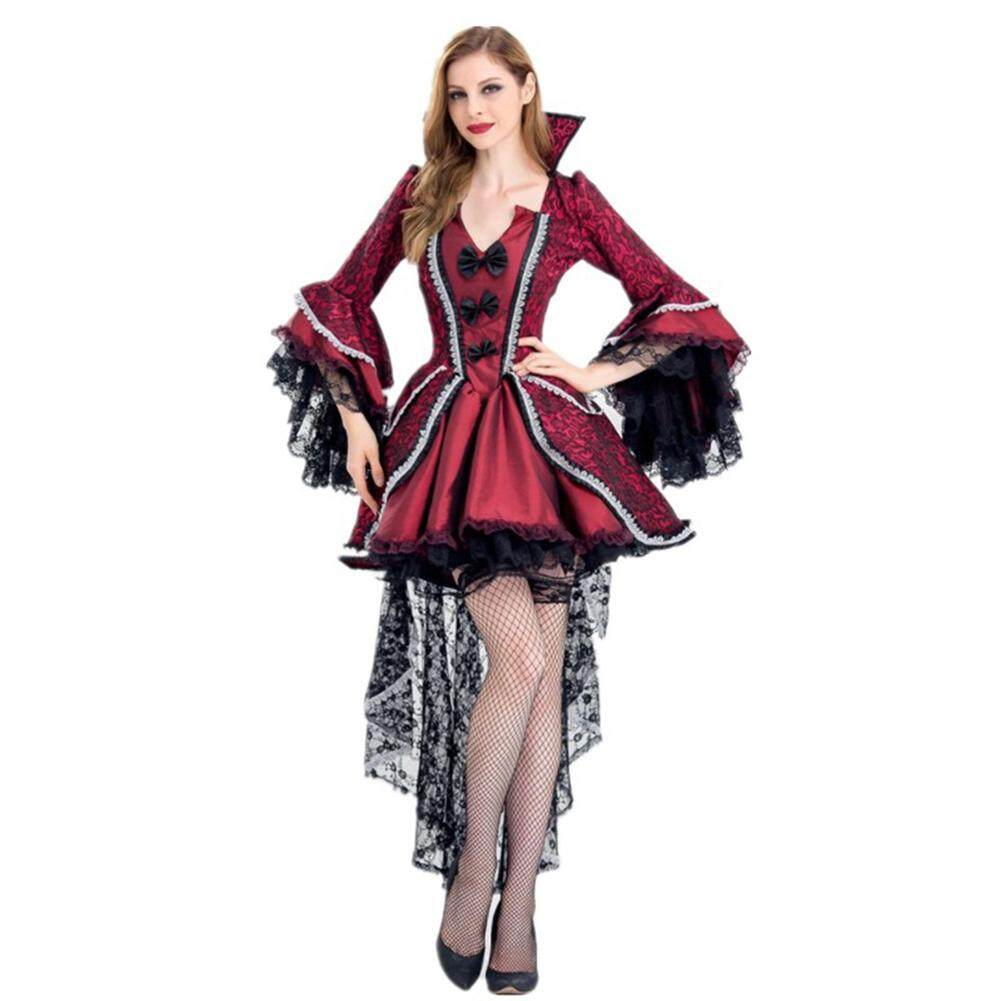 Womens Ladies Dark Vampiress Halloween Fancy Dress Costume Gothic Outfit Adult