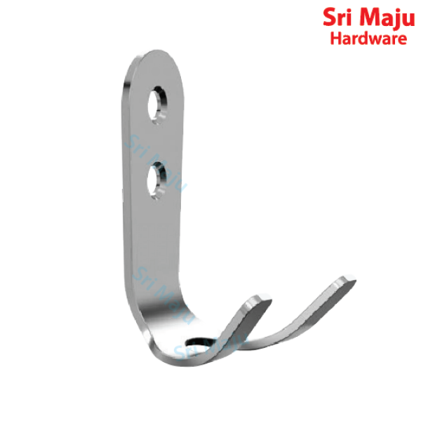 MAJU CH-SSD Solid Stainless Steel Coat Double Hook Hanger Hanging Utility Rope Towel Kitchen Bathroom Toilet Hooks