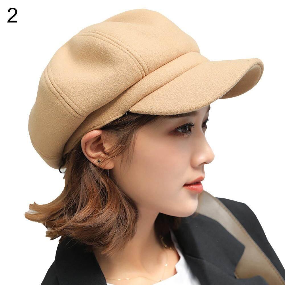 Sanwood®Gaya Inggris Merasa Warna Solid Lebar Brim Baret Wanita Musim Dingin Yang Hangat Topi