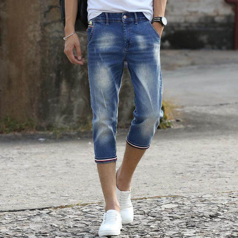 Korea Baru Musim Panas Jeans Dipotong Ramping Kasual Elastis Celana Pendek Fashion M4727
