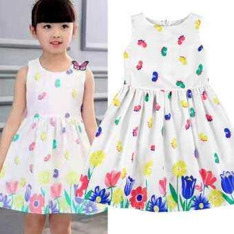 ღBabyQT✧゚ 1-6ปีชุดเดรสหน้าร้อนดอกไม้เด็กเสื้อผ้าเด็กเล็กน่ารักPartyชุดเจ้าหญิงวันเกิด